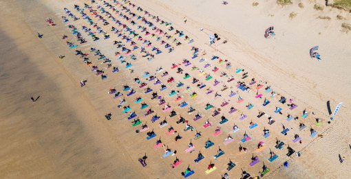 silent disco beach yoga newquay cornwall