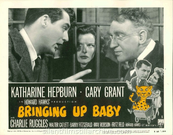 Cary Grant, Katharine Hepburn and Walter Catlett in BRINGING UP BABY (1938). 1955 Re-release Lobby Card