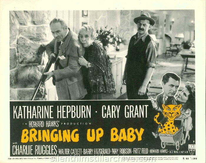 Charles Ruggles, May Robson, and Barry Fitzgerald in BRINGING UP BABY (1938). 1955 Re-release Lobby Card