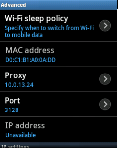 set proxy in android mobile for internet