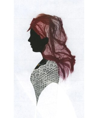 Silhouette of a woman with lace body and purple-paper hair