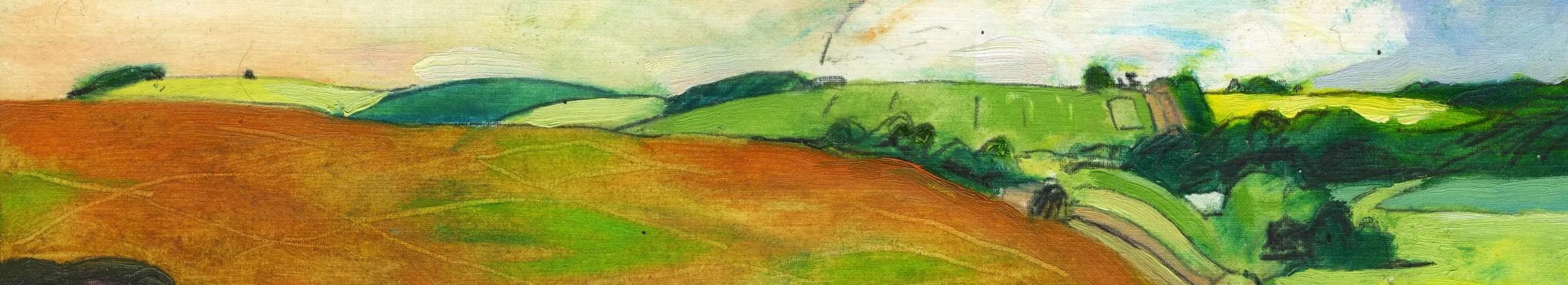 Orange and green landscape, silhouette artistic genre