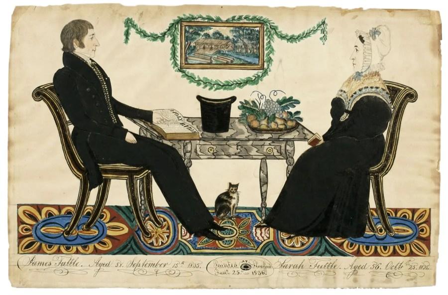 Amercian Folk Art painting of a man and woman
