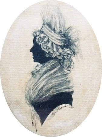 Silhouette of a lady with white shawl and bonnet by Mr Charles