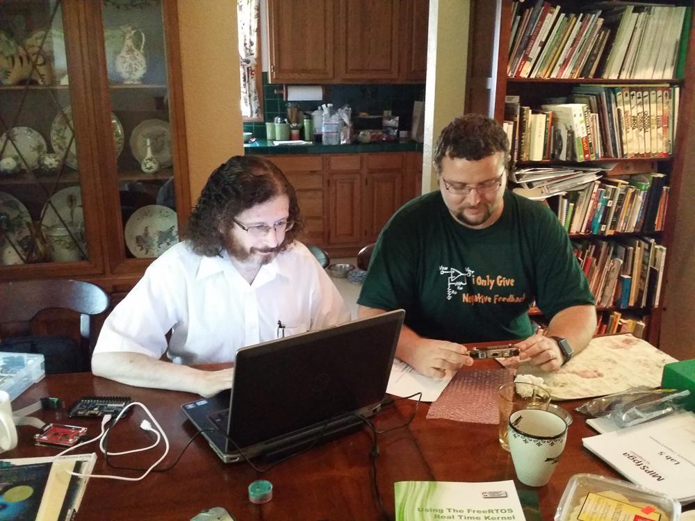 Alex and Vladimir in Yuri's house debugging MIPSfpga
