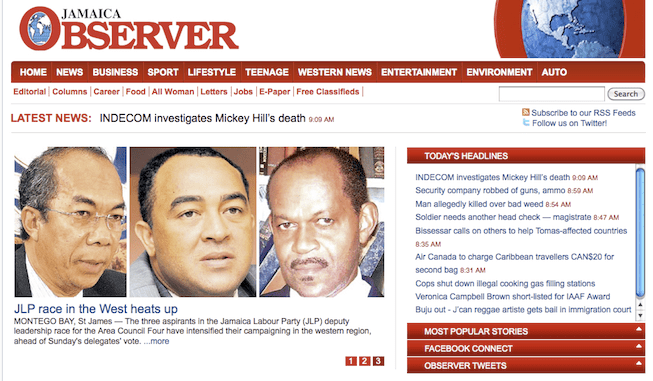 JamaicaObserver com steps it up again with Social Media Plugins |