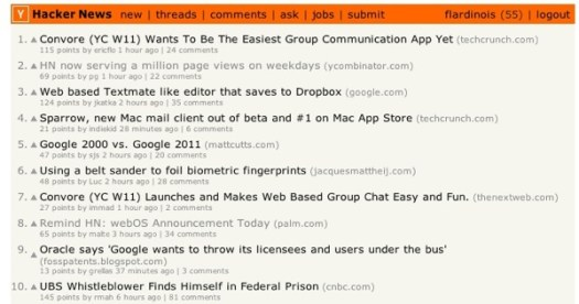Hacker news screenshot