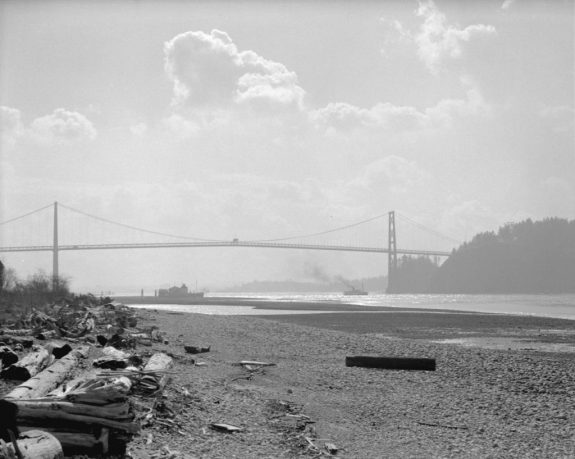 """Lady Cecilia"" under the Lions Gate Bridge 1939. City of Vancouver Archives, CVA 99-2951, photographer Start Thomson"