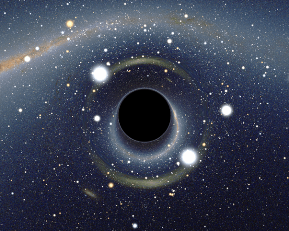 Simulated view of a black hole in front of the Large Magellanic Cloud. Note the gravitational lensing effect, which produces two enlarged but highly distorted views of the Cloud. Across the top, the Milky Way disk appears distorted into an arc.