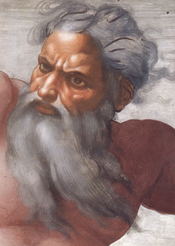 Creation of the Sun and Moon by Michelangelo, face detail of God.