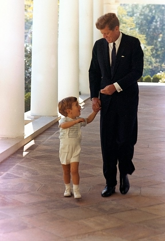 JFK Jr. with his father at the White House at age two