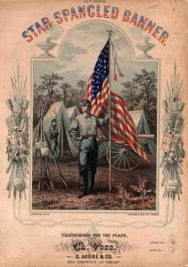 """Cover of sheet music for """"The Star-Spangled Banner"""", transcribed for piano by Ch. Voss, Philadelphia: G. Andre & Co., 1862"""