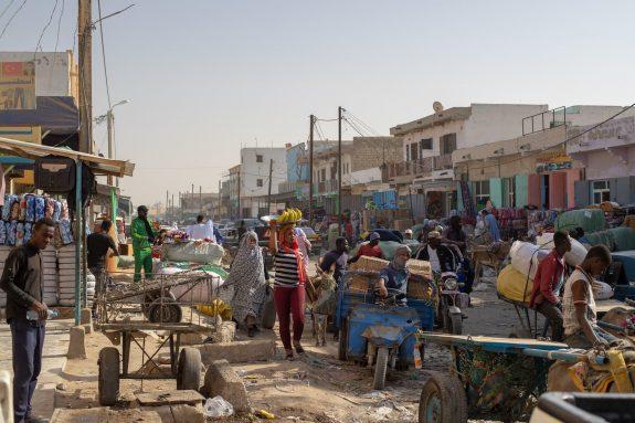 Banana sales woman in Morroco market in Nouakchott, Mauritania