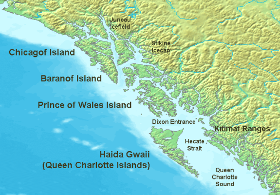 The northern Pacific Northwest Coast, showing the position of the archipelago in relation to other islands in the region. The southern half of Prince of Wales Island is Kaigani Haida territory, but is not included in the term Haida Gwaii.