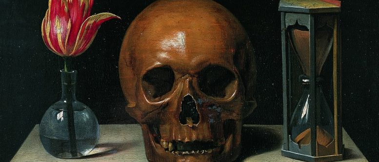 Philippe de Champaigne's Vanitas (c. 1671) is reduced to three essentials: Life, Death, and Time