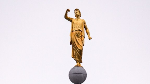 Angel Moroni from atop the Church of Jesus Christ of Latter-day Saints