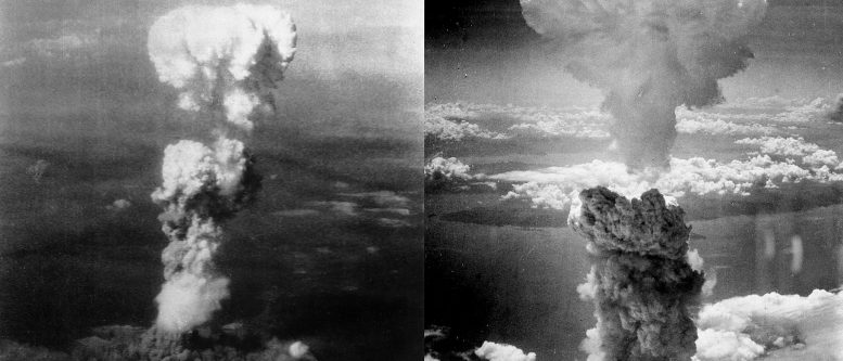 Atomic bomb explosions over Hiroshima, Japan, 6 August 1945 (left) and over Nagasaki, Japan, 9 August 1945 (right).
