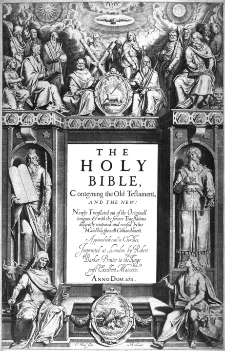 "The title page to the 1611 first edition of the Authorized Version of the Bible by Cornelis Boel shows the Apostles Peter and Paul seated centrally above the central text, which is flanked by Moses and Aaron. In the four corners sit Matthew, Mark, Luke and John, the traditionally attributed authors of the four gospels, with their symbolic animals. The rest of the Apostles (with Judas facing away) stand around Peter and Paul. At the very top is the Tetragrammaton ""יְהֹוָה"" written with Hebrew diacritics."