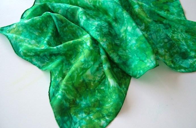 hand painted silk scarf green chrysocolla fionastolze silkandart