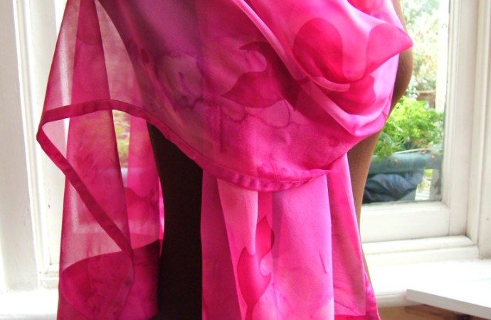 Silk and chiffon silk shawl