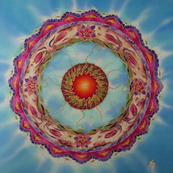 silkandart Heart chakra mandala art silk painting fionastolze