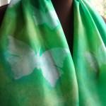 hand painted silk scarf fionastolze silkandart butterfly green