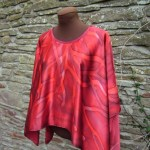 Bordeaux and red silk satin poncho