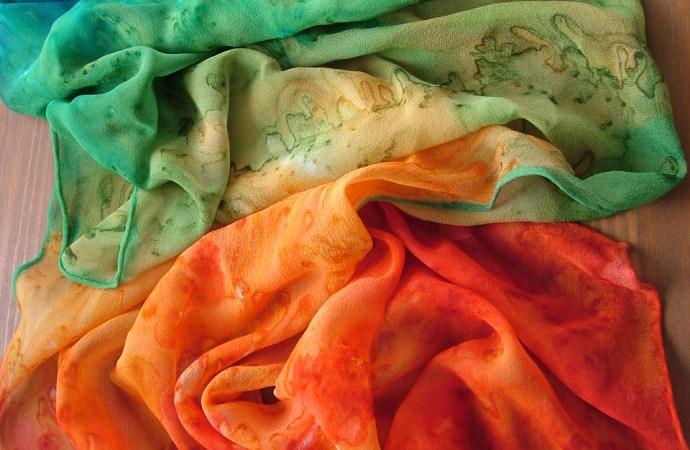 hand painted silk scarf chiffon rainbow fionastolze silkandart