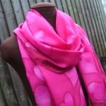 hand painted silk scarf valentines day pink heart fionastolze silkandart
