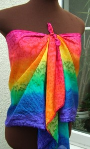 The rainbow silk scarf with red at the top