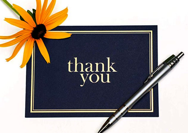 Beautiful Blue and Gold Thank You Card
