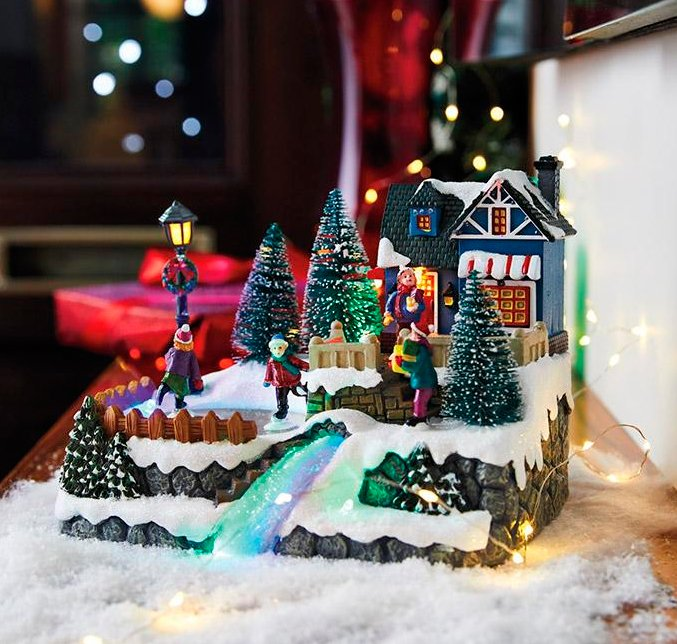 Unique Holiday light-up Ornament scene with ice skaters