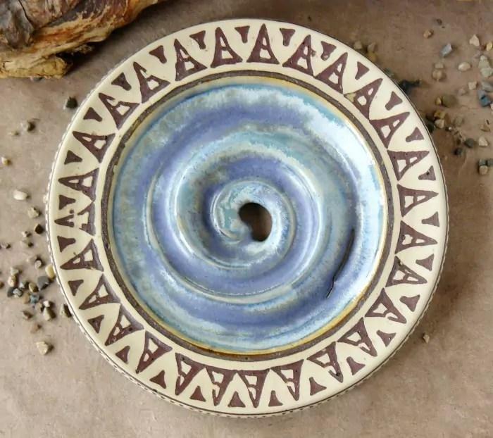 Seifenschale - blau-mint mit Intarsienmuster