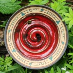 Seifenschale rot-anthrazit Intarsienmuster