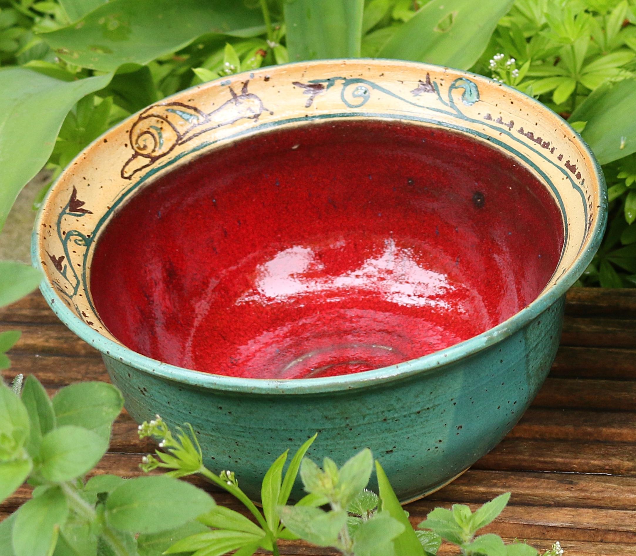 Intarsien-schale rot-gruen Ø 15 cm