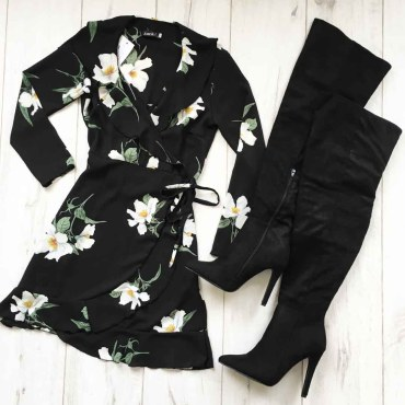 Floral Wrap Frill Dress