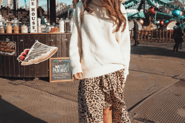Leopard Print Wrap Midi Skirt with Cream Jumper
