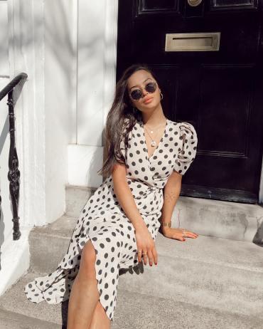 Midi dress with puff sleeve in polka dot
