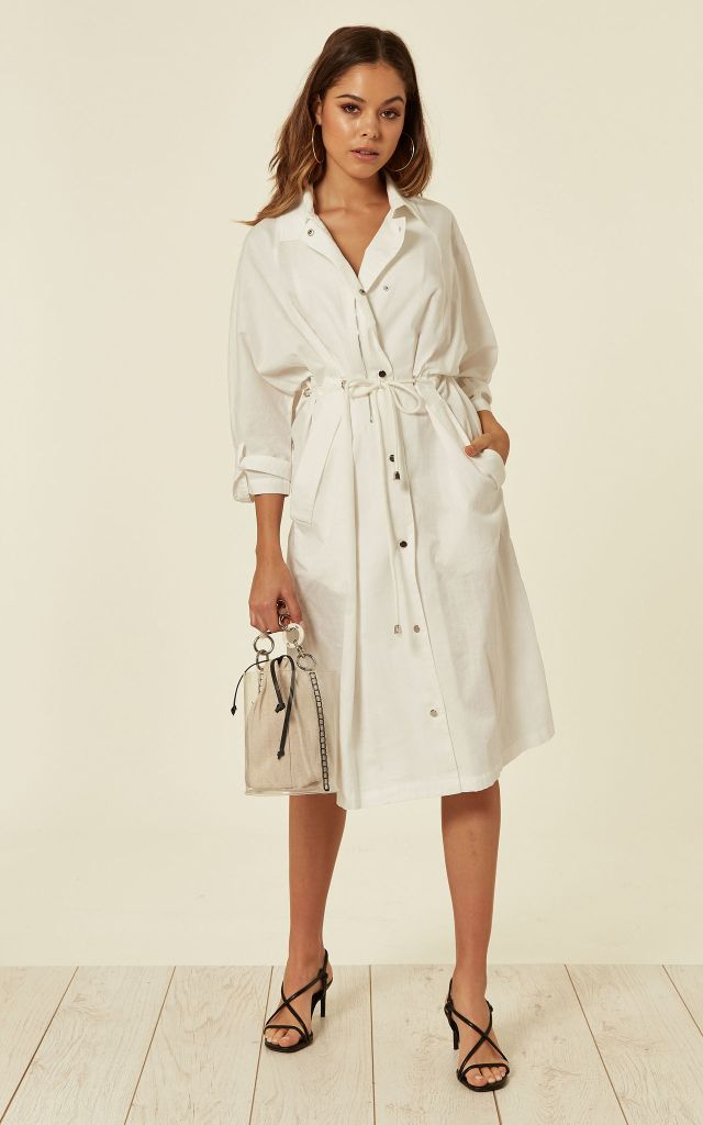 White shirt dress with rope belt and pockets