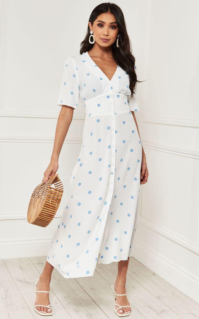 V neck midi dress in light blue polka dot