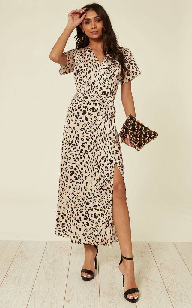 Wrap midi dress in leopard print
