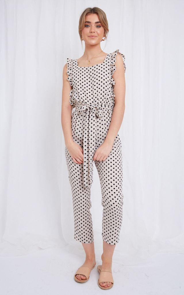 Sleeveless jumpsuit in polka dot