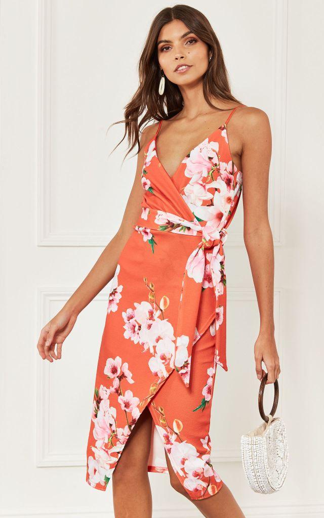 Cami dress in orange floral print