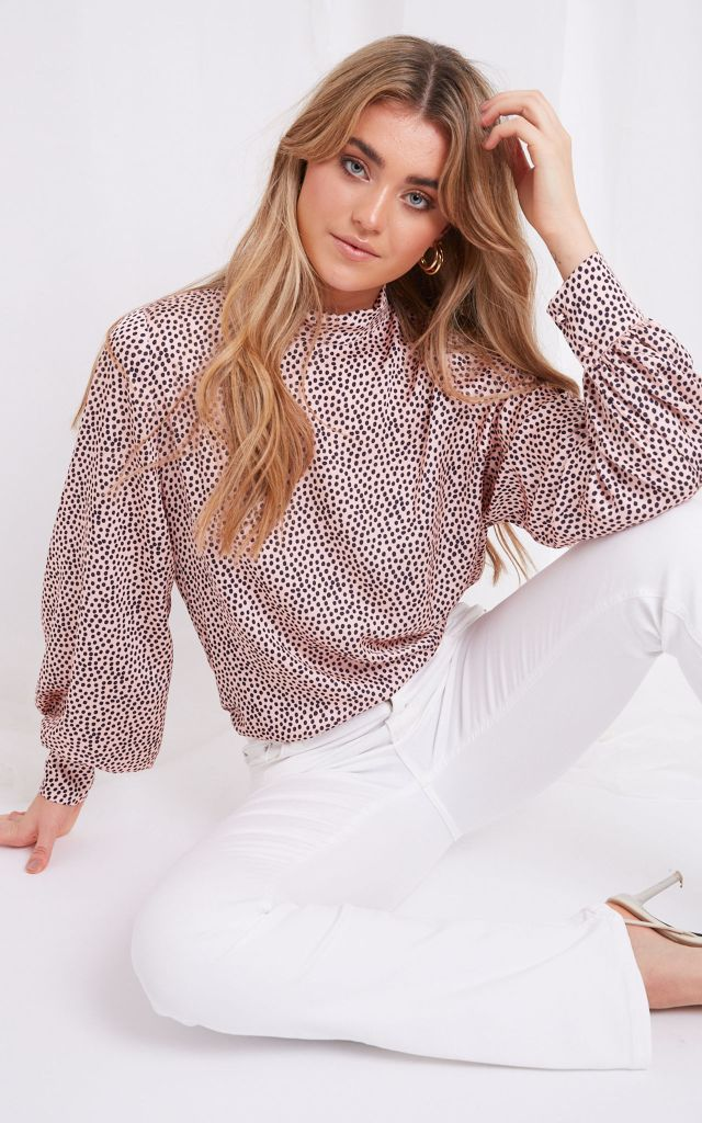 Long sleeve high neck top in pink