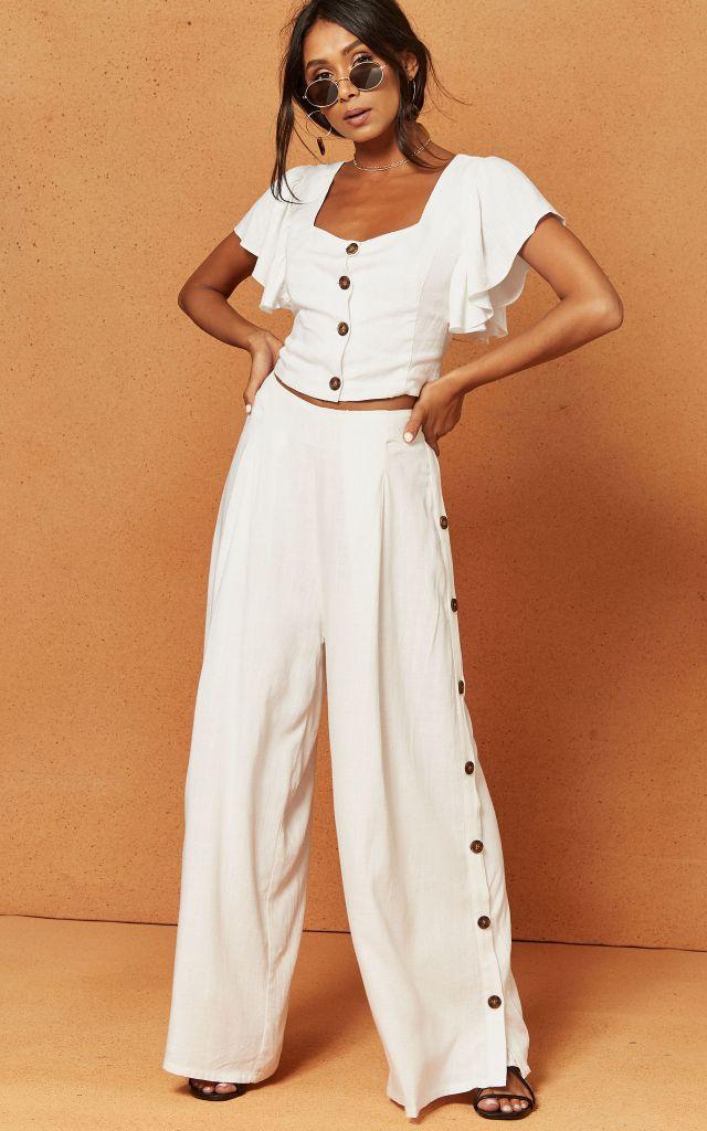 White palazzo trousers
