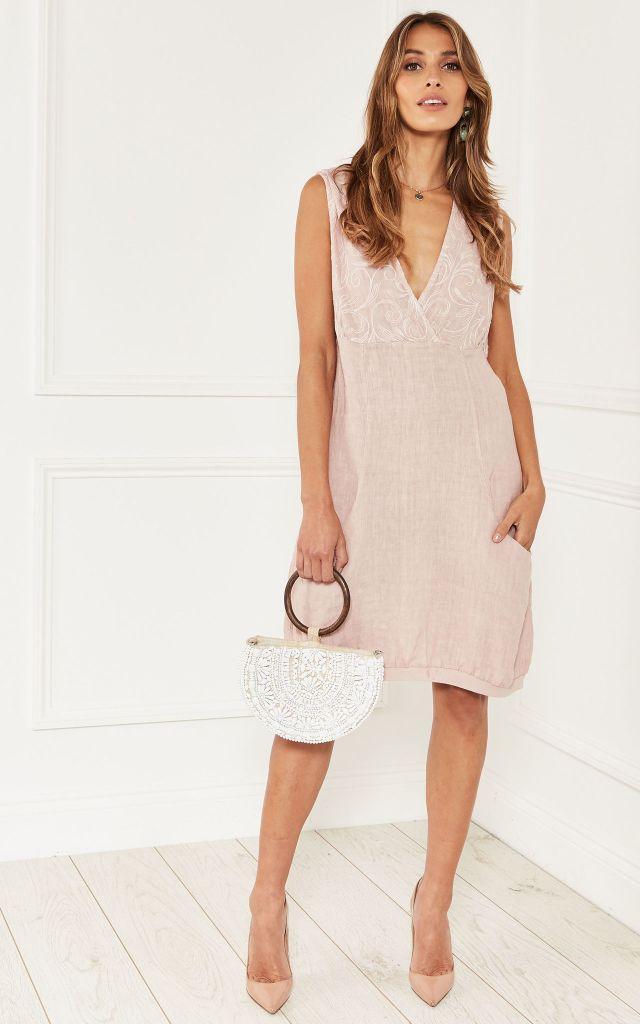 Linen dress in pink