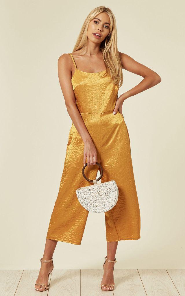 Yellow satin jumpsuit