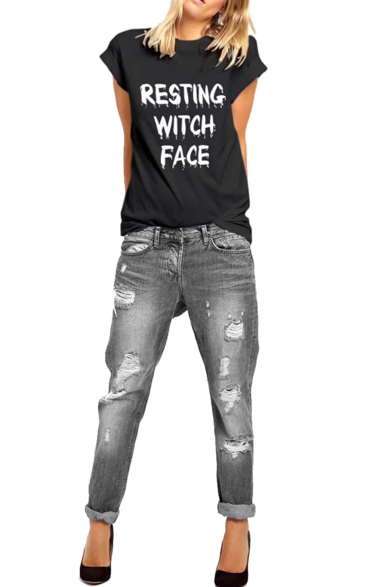 Model wears halloween slogan tee Resting Witch Face