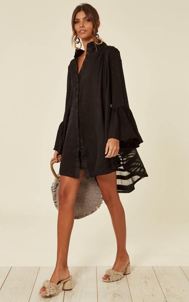 Model wears black shirt dress