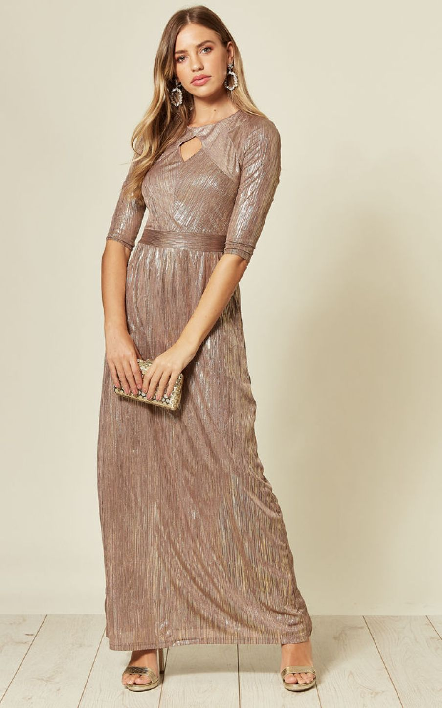 Maxi dress in metallic crinkle worn on model